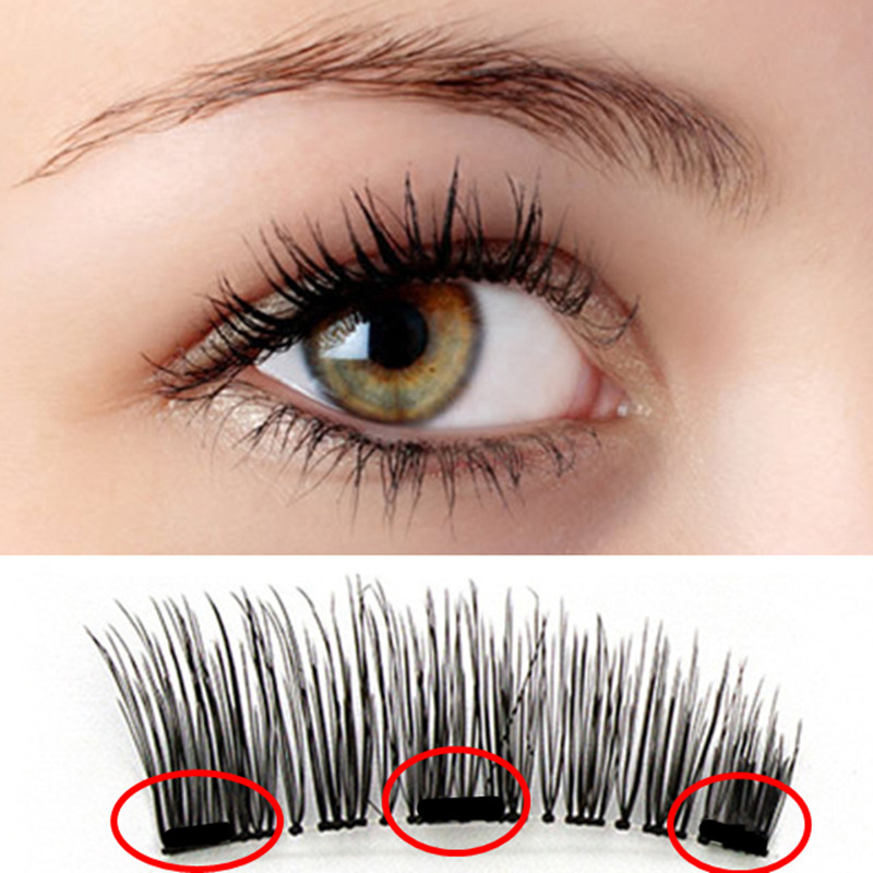 False Eyelashes Magnetic Natural 3 Magnets Set Natural Long Wearing Without Glue Long Lasting Multiple Magnetic Eyelashes
