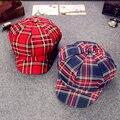 Moda 2016 Nuevo Llega El Algodón Sombrero de Las Mujeres casquillo del vendedor de Periódicos Tapas Con Diseño A Cuadros Accesorios Regalos