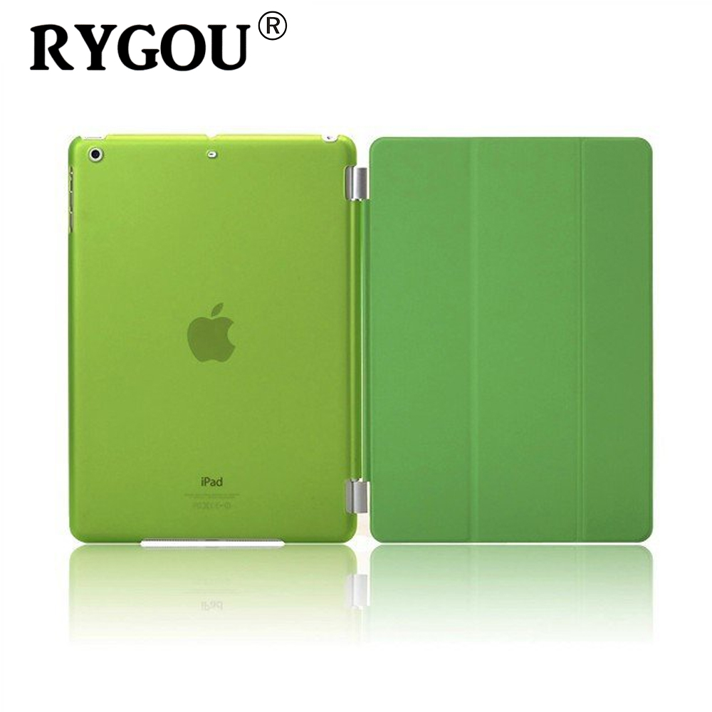 Rygou For Apple iPad mini 1 2 3 Case PU Leather Magnetic Front Smart Cover+Crystal Clear/Matte Hard Back Case for iPad Mini 3 apple ipad mini smart case black mgn62zm a