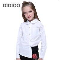 Girls Lace Shirts For Kids Ruffles Blouses Fall Children Solid Tops Long Sleeve School Shirts 4