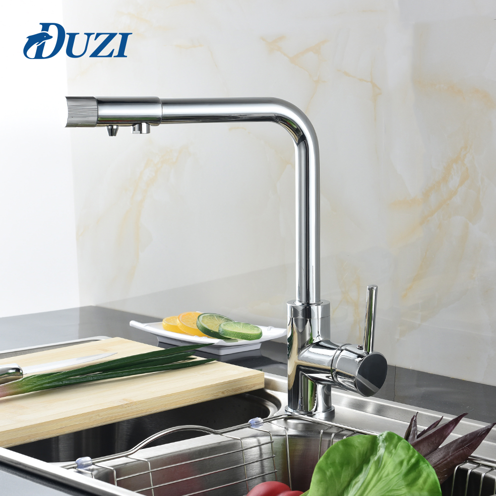 DUZI Drinking Water Filter Faucet Chrome Kitchen Sink Tap 360 Degree Rotation 3 Way Water Filter Tap Water For Kitchen Faucets newly arrived pull out kitchen faucet gold sink mixer tap 360 degree rotation torneira cozinha mixer taps kitchen tap
