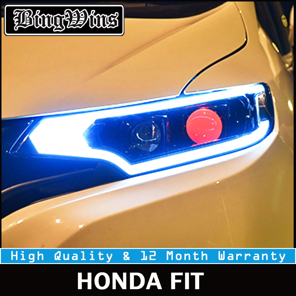 Car Headlights For Honda Fit 2014-2017 LED DRL LED Yellow Turning Headlamp +Red angel eye headlight Bi-Xenon Lens H7 D2H Front auto pro for honda fit headlights 2014 2017 models car styling led car styling xenon lens car light led bar h7 led parking