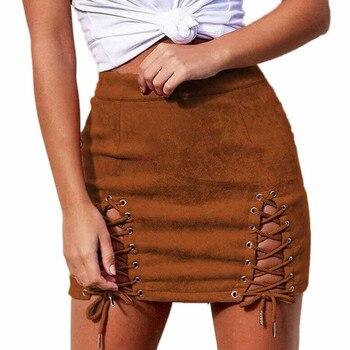 2019 Sexy Black Color Pencil Skrits Women Bandage Suede Fabric Strap Slim Skirt Summer Elastic Short SkirtCinghie da donna 1
