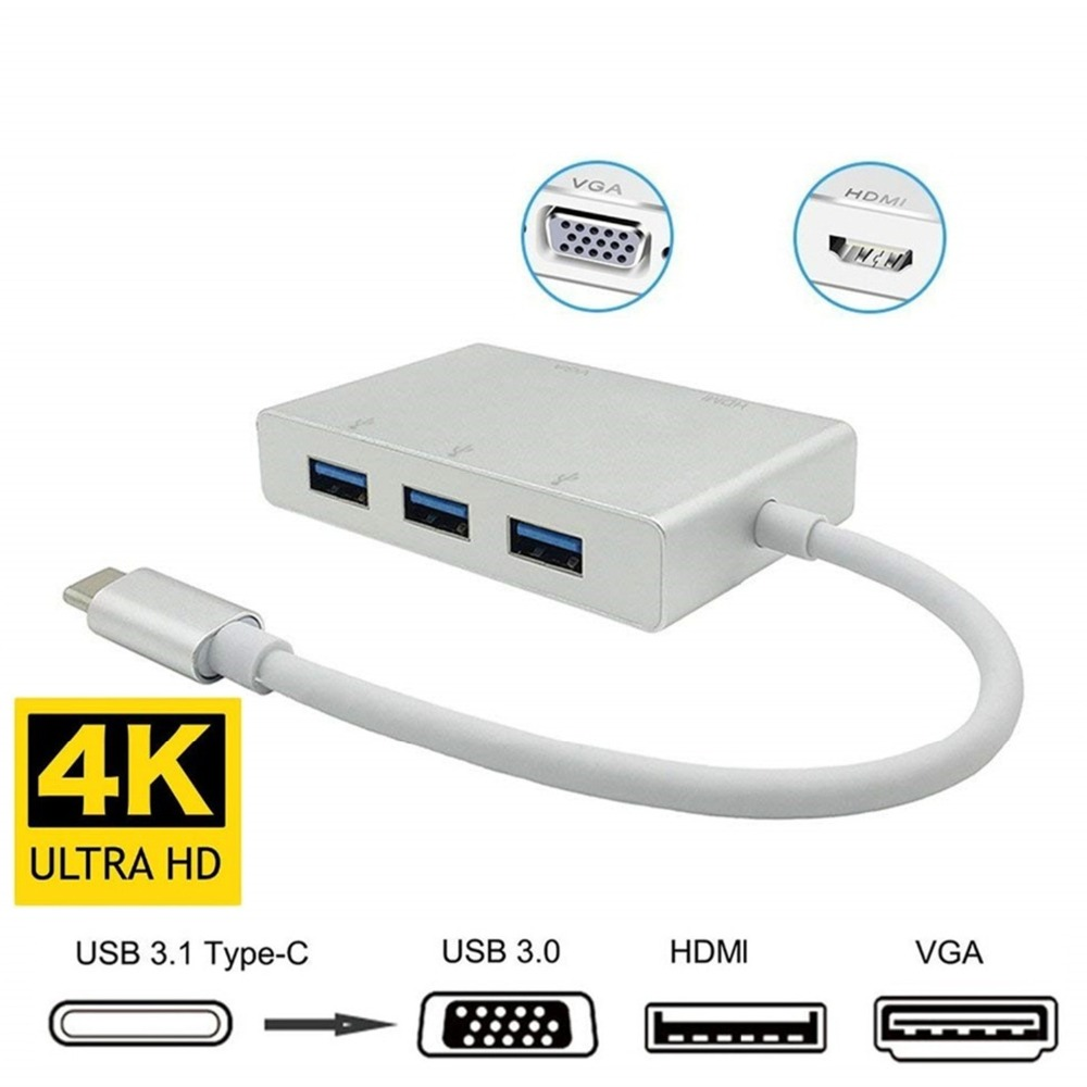 USB C to HDMI VGA USB 3.0 HUB Type C to HDMI VGA Adapter with 3 USB 3.0 Port for New Macbook/Samsung s8 plus Lenovo ThinkPad P5 usb c to hdmi vga usb 3 0 hub type c to hdmi vga adapter with 3 usb 3 0 port for new macbook samsung s8 plus lenovo thinkpad p5
