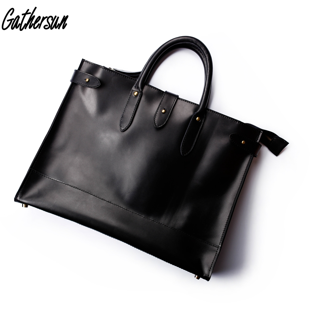 все цены на Gathersun Leather Bag Men Briefcase for 13 inches Laptop Men's Office Bags 2018 Laptop Bag Leather Vintage Briefcases for Men