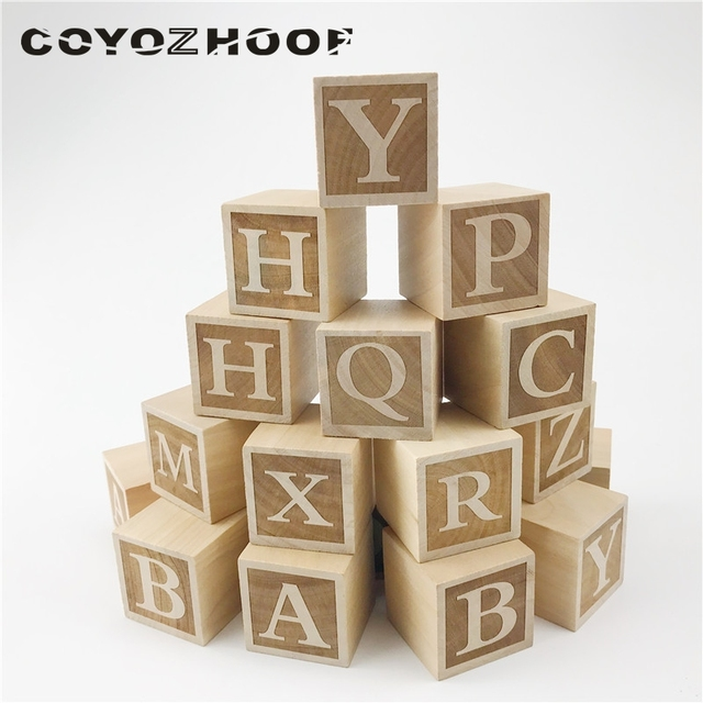 Nursery Baby 26pc Letter Blocks Toy 4cm Alphabet Rustic Or Boys Decor Christmas