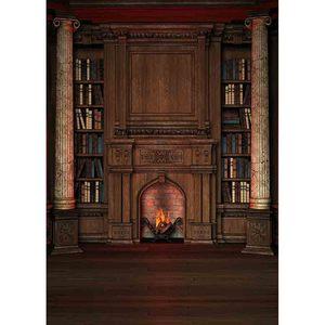 Image 2 - Allenjoy Estantería Retro Para estudio fotográfico, estantería para biblioteca privada, chimenea, columna romana, Fondo de foto