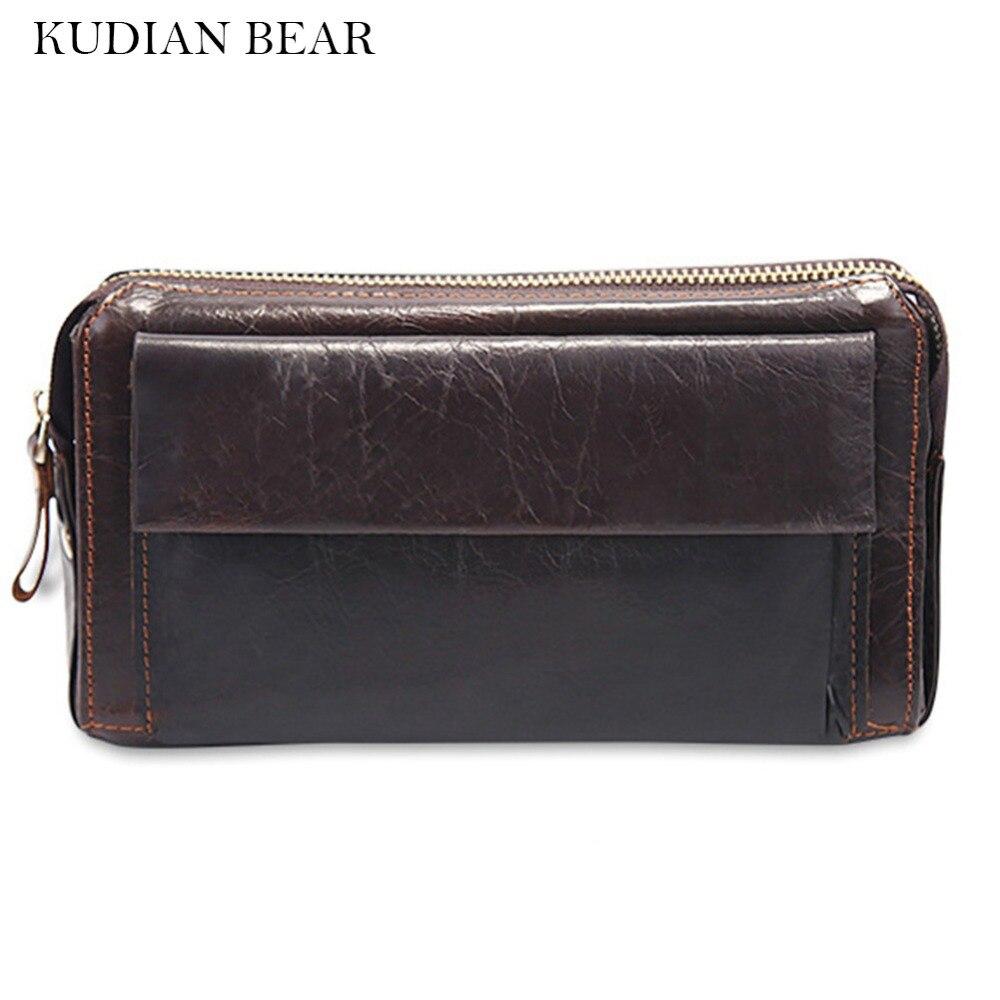 KUDIAN BEAR Leather Wallet Long Purse Wallet Bifold Designer Vintage Purse Hasp Travel Card Holder Carteira--BIK019 PM49 zelda wallet bifold link faux leather dft 1857