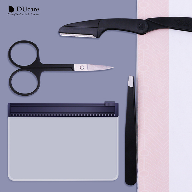 DUcare 4PCS Eyebrow Trimmer Shaving Tweezers Eyebrow Stencils Cosmetic Tools Eyes Makeup Set Beauty Essential with Bag 2