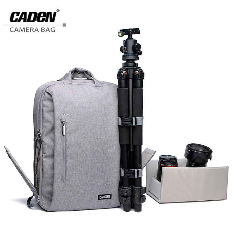 Здесь можно купить  CADEN Camera Bags Shoulders Backpacks Slivery Gray Waterproof Photo Bag Fashion Digital Camera Case L5-1 For Canon Nikon  Бытовая электроника