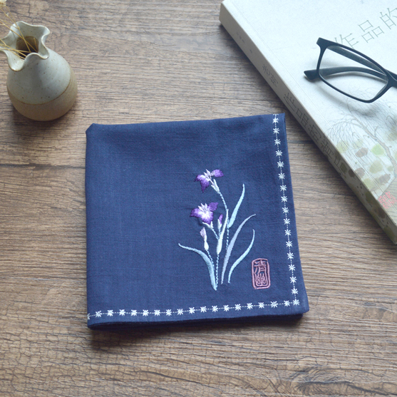 The Orchid Retro Embroidery Cotton And Linen Old Handkerchief Birthday Guests Elders For Christmas