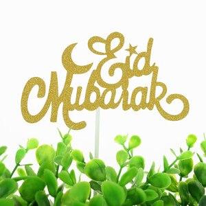Image 5 - Adornos para tartas banderas con purpurina Eid Mubarak, decoración para cupcakes de cumpleaños para niños, fiesta de Baby Shower, Ramadán, musulmán, hornear, DIY, navidad