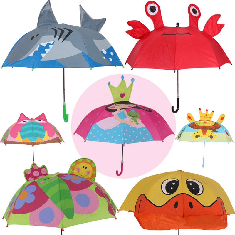 Kinder cartoon lange griff regen regenschirm 3D tiere drucken nette regenschirm für junge mädchen sonnenschutz kind der werkzeuge YS050