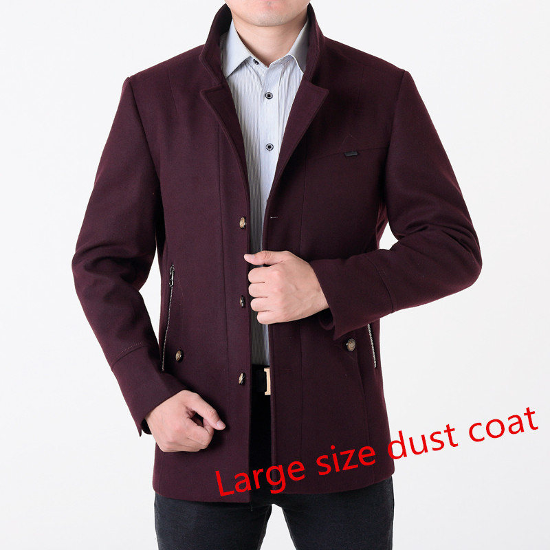 2017 winter men's coat single-breastedslim thicker wool jacket male trench coat manteau large size 7XL 8XLFree shipping