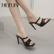 Sexy Genuine Leather Stiletto Womens Sandals 2019 Summer New Ladies Shoes Satin Square Head High Heels Female Slippers