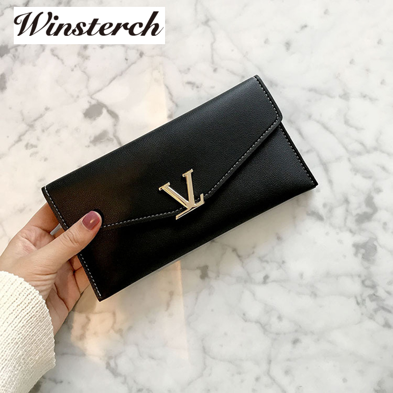 Women Wallets 2017 Brand Solid PU Leather wallet long Purse V Letter Luxury Female Carteira Ladies