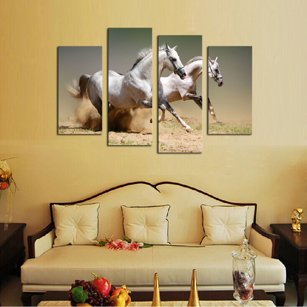 Unframed Hot Sell 4 panel Running White Horse Large HD Picture ...