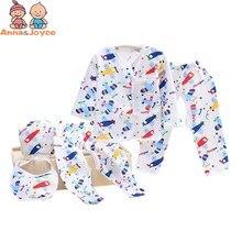 5 шт./компл. одежда для малышей новорожденных Детское нижнее белье хлопковый нагрудник шапка, комплекты с рисунками «пять костюм TST0354