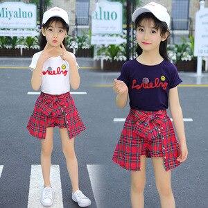 Image 3 - Ensemble fille vêtements enfants été enfants vêtements ensembles Smiley visage T Shirt + rouge grille pantalon coton filles vêtements 10 12 ans tenues