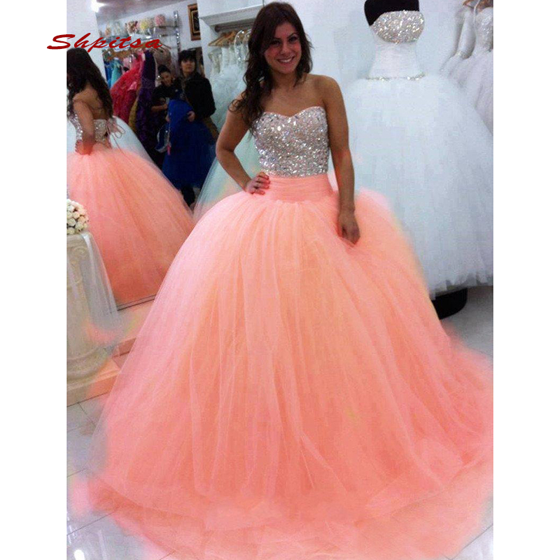 a97d0b73f2958a8 Роскошные Кристаллы бальные платья бальное платье Элегантное Тюлевое  выпускного вечера дебютантка шестнадцать 15 сладкий 16 vestidos