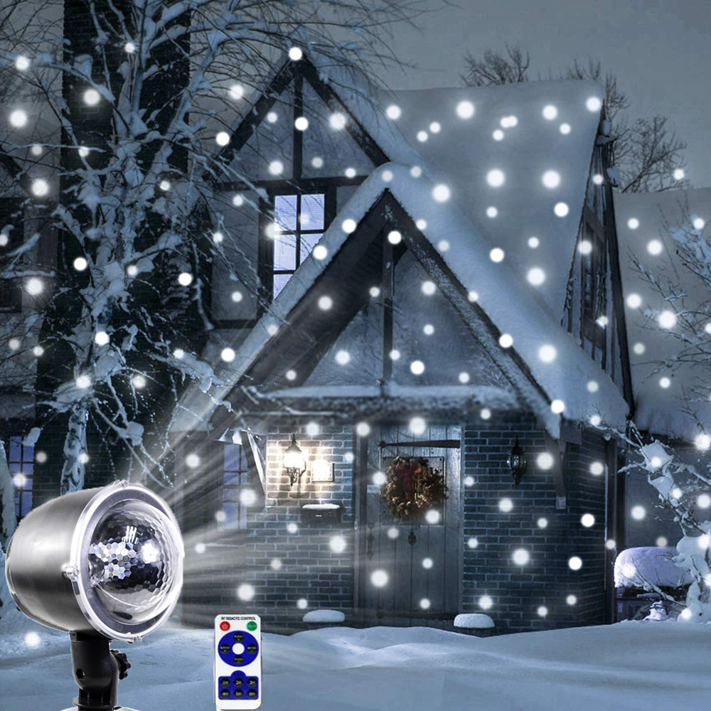 Snowfall Led Stage Lights Displays Projector Show Christmas Outdoor Indoor Rotating Snowflake Lamp Xmas Garden Landscape Decor