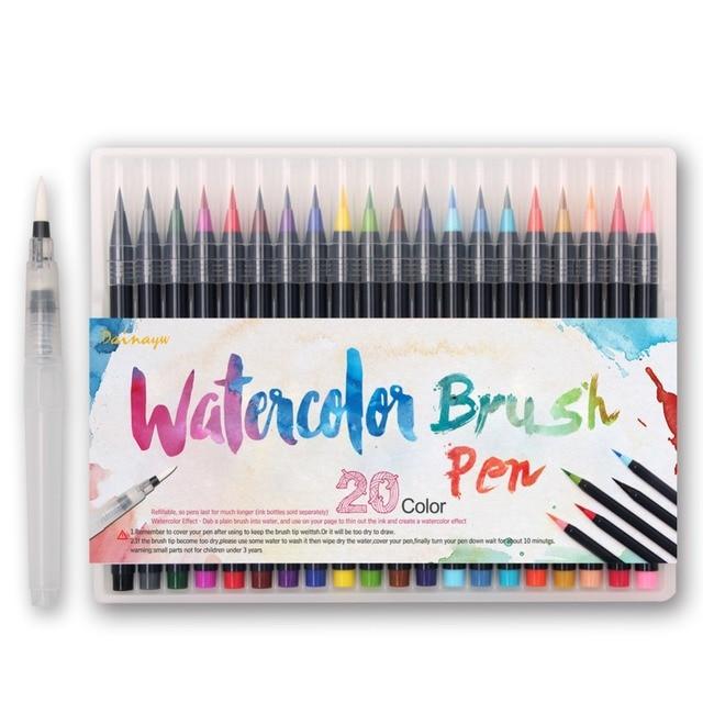 20 لون قسط اللوحة فرشاة لينة مجموعة أقلام الألوان المائية علامات القلم تأثير أفضل لتلوين كتب المانجا الخط الهزلي