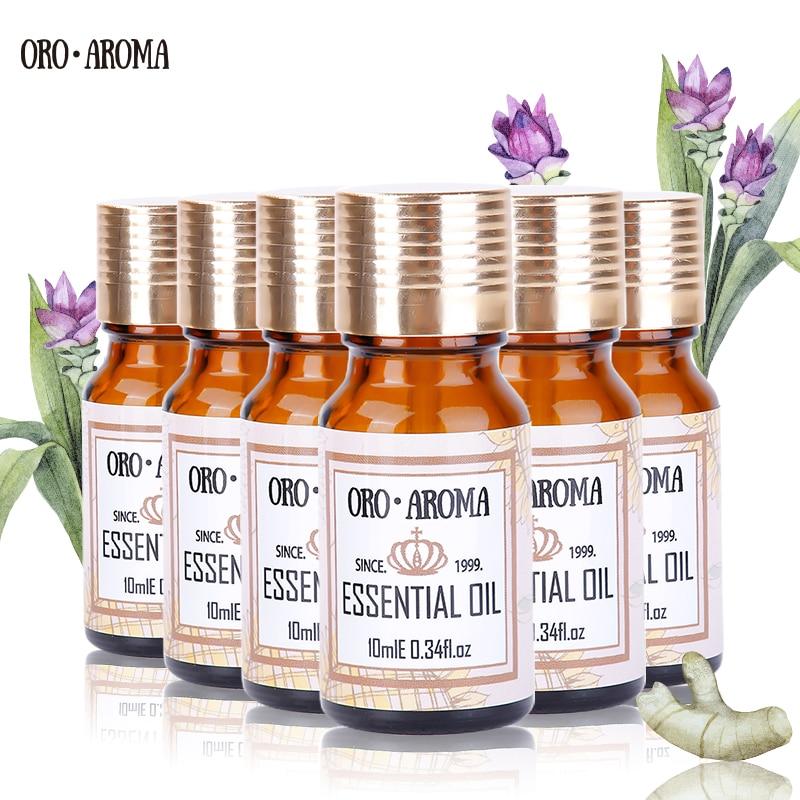 цена на Famous brand oroaroma Frankincense Osmanthus Lotus Tulip Angelica Peony Essential Oils Pack Aromatherapy Spa Bath 10ml*6