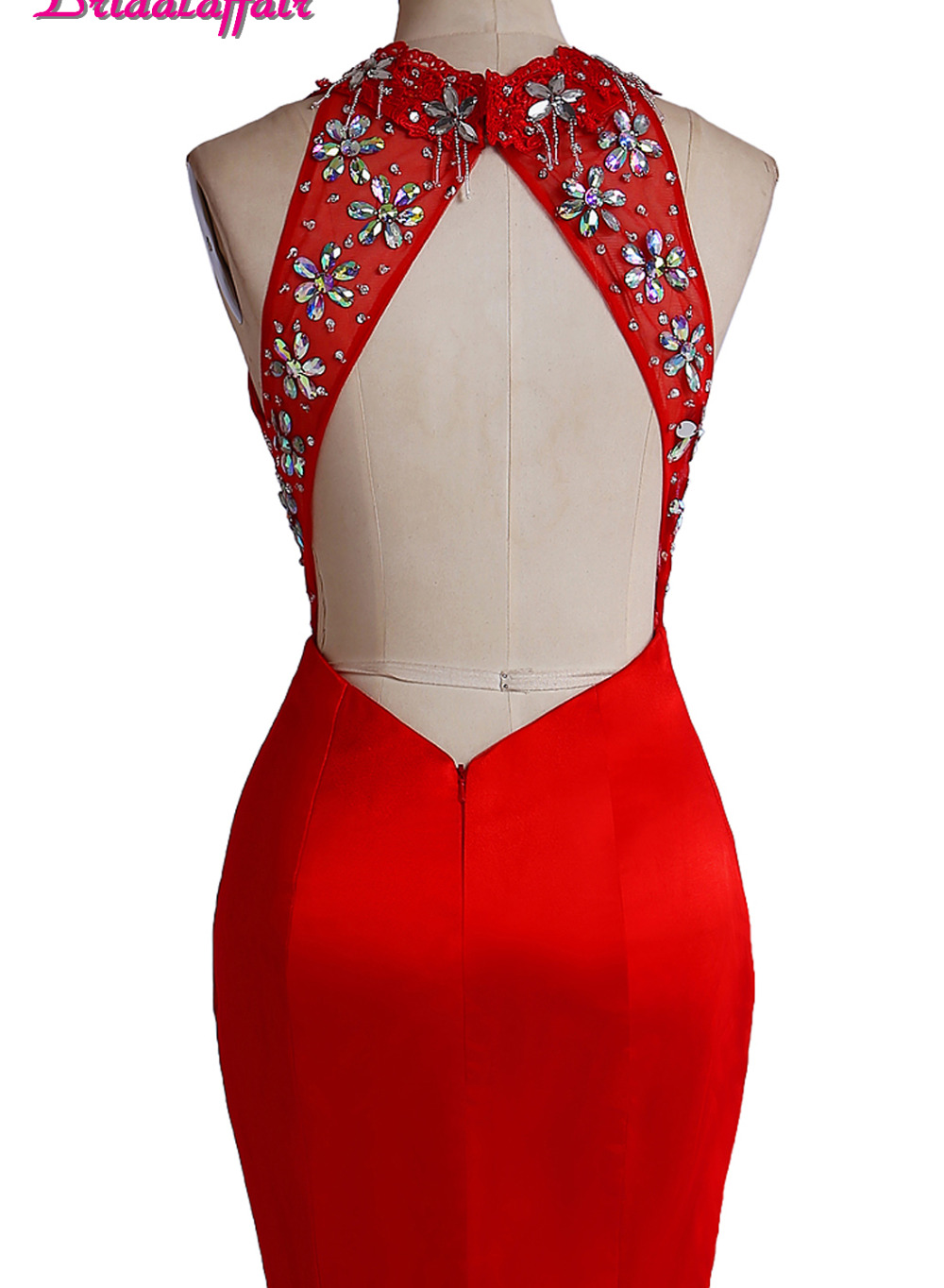 Bridal affair Real Photo New Design Red Mermaid Prom Dresses 2017 Backless O Neck Evening Party Dress Vestido de festa in Prom Dresses from Weddings Events