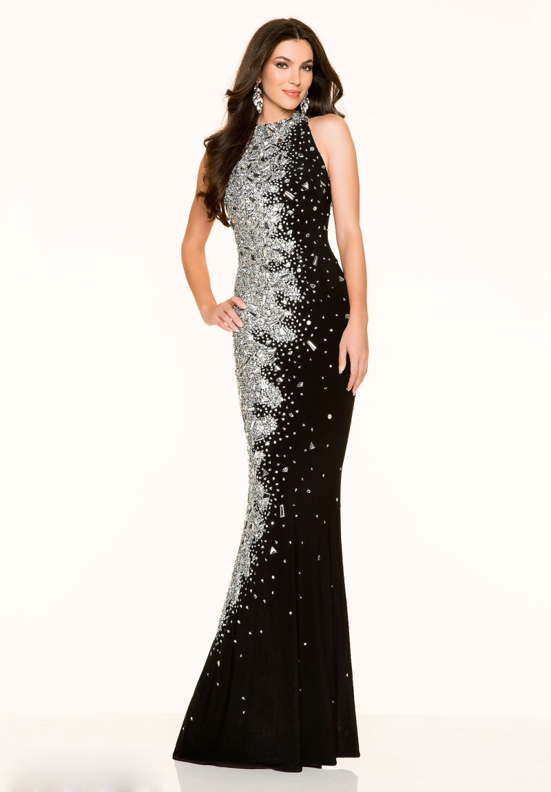 Black White Mermaid Prom Dress Evening Gowns Sexy Back Sheer Halter ...