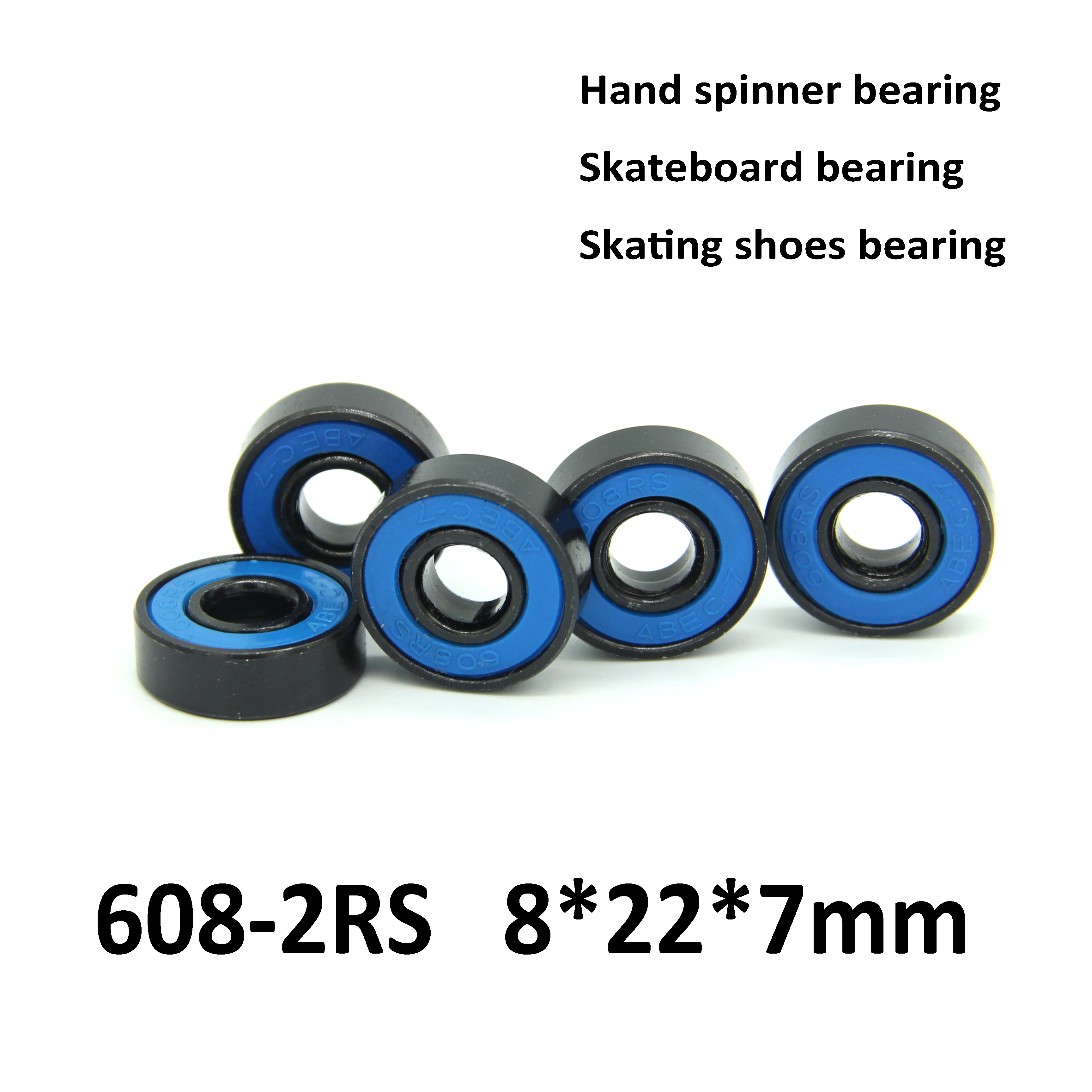 Free shipping 50pcs Skate board bearing 608-2RS 608RS 608 8x22x7mm different rubber closures 8*22*7mm  for hand spinner