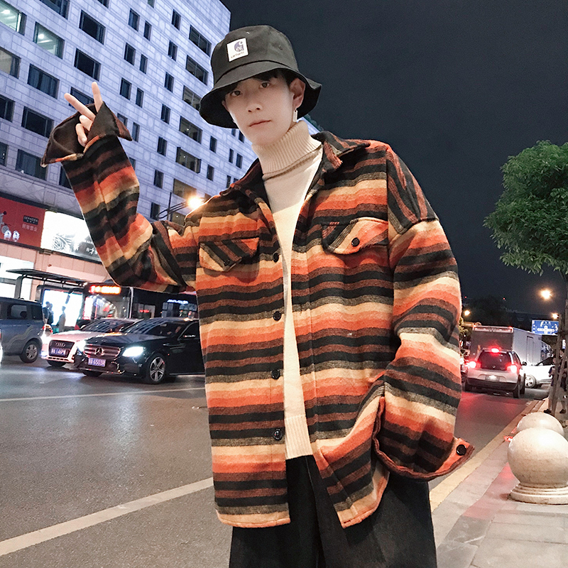 Autumn Men's New Youth Long-sleeved Loose Popular Wild Personality Fashion Casual Temperament Cotton Striped Lapel Shirt