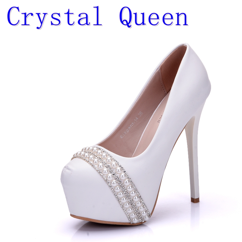 Crystal Queen Pearl Rhinestone Women's Wedding Pumps High Heel Platform Wedding Shoes Gentlewomen Bridal Shoes Party fashion rhinestone super high heel bridal dress shoes white flower pearl crystal wedding shoes round toe wedding ceremony pumps