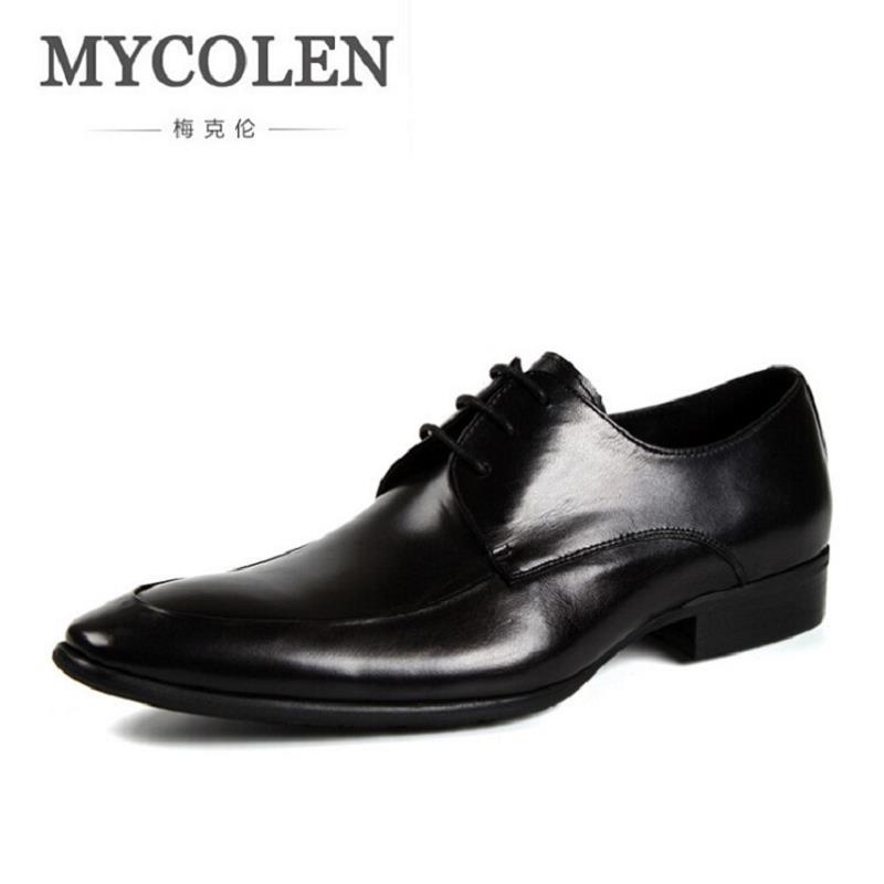 MYCOLEN New 2017 Business Dress Men Formal Shoes Wedding Pointed Toe Genuine Leather Flats Oxford Shoes For Men tenis masculinos pjcmg spring autumn men s genuine leather pointed toe slip on flats dress oxfords business office wedding for men flats shoes