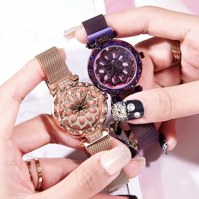 Wepbel Drehen Oberfläche Frauen Uhr Magnet Strap Handgelenk Uhren Rose Gold Mode Luxus Wasserdicht Exquisite Traditionelle Stickkunst Herrenuhren