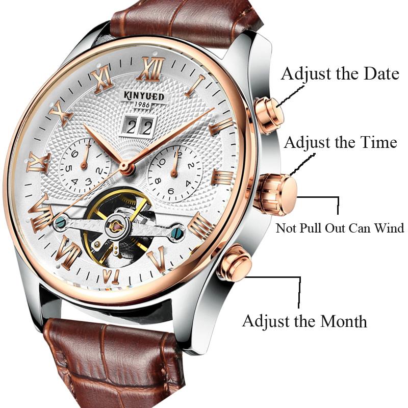 2017 Kinyued Skeleton Tourbillon Zegarek Mechaniczny Automatyczny Mężczyźni Klasyczne Rose Złota Skóra Mechaniczne Zegarki Reloj Hombre 7