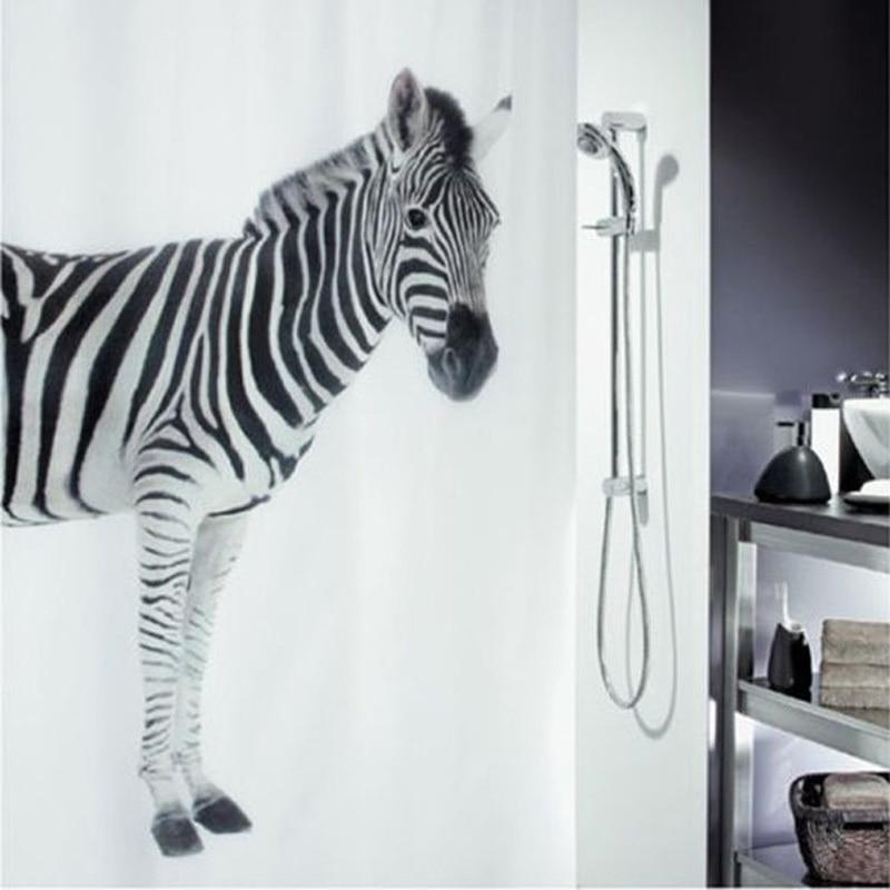 Bathroom Fabric Shower Curtain Zebra Art Style Waterproof Polyester Bath Curtain With Hooks Shower Screen Curtains 180*180cm