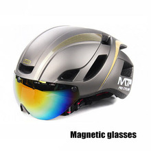 цена на Cycling helmet  integrated bicycle with goggles riding equipment mountain bike helmet men and women Magnetic glasses