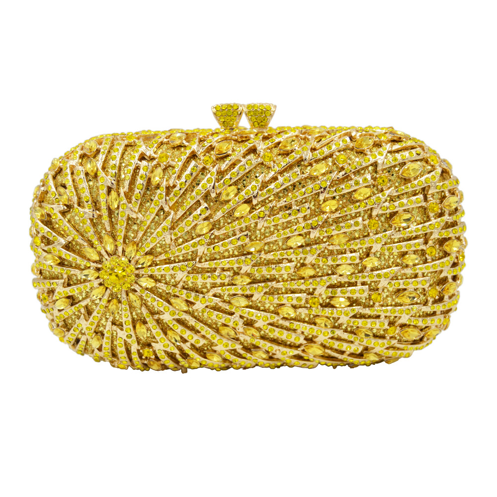 Deluxe Lemon yellow Grey Rose Gold Crystal Evening Party Purse Bag Female Clutch Bag Chain Women