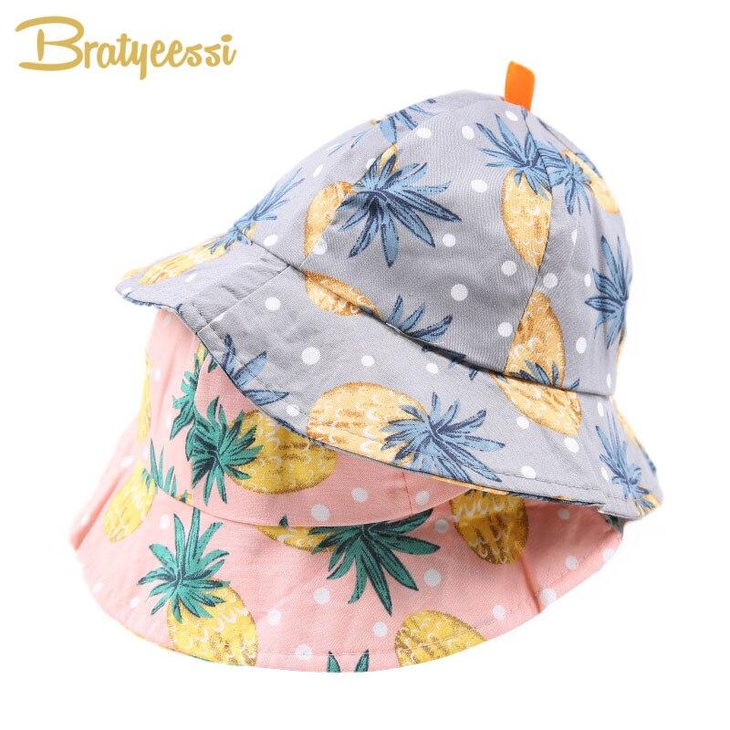 С принтом ананаса Детская летняя шляпа хлопковая детская Панама для девочек и мальчиков детская Кепки 6-18 месяцев 1 предмет