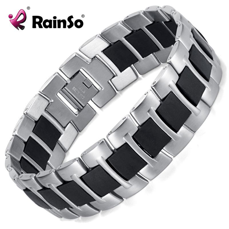 RainSo High Quality 316L Stainless Steel Bracelet Non-Magnetic Bracelet with rubber for man or women OSB-265A