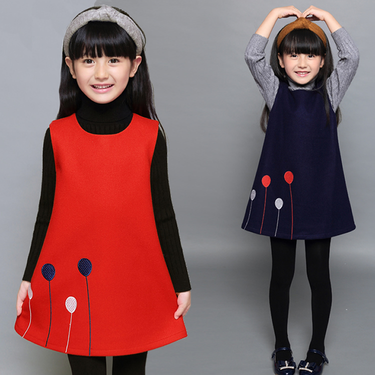 New 2018 Spring Winter Girls Sleeveless Dress Teenage Girls Cotton Wool Dress Kids Children Student Dress 6 7 8 9 10 11 12 13 14 db4368 davebella spring new girls cotton floral dress princess dress children boutique dress sakura dress