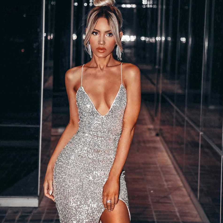 Adyce 2019 New Summer Silver Sequined Midi Celebrity Evening Party Dress Women Sexy Sleeveless Spaghetti Strap