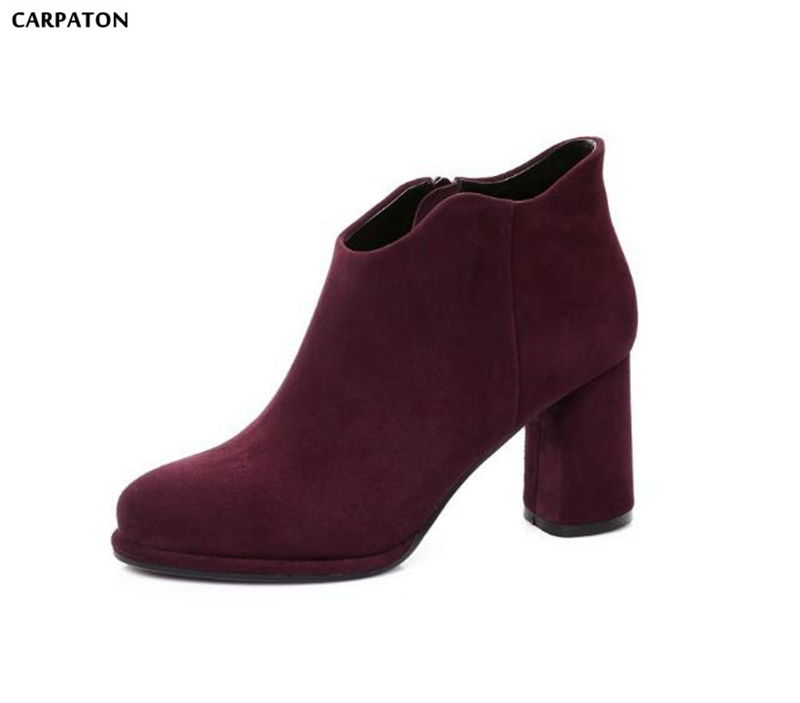 Carpaton 2018 Newest Pure Color Sanding Leather Fashion Round Toe Square High Heels Deep mouth Side Zippers Women Short Boots black round toe side zippers heavy bottomed increased inner 12 cm slope heels naked boots discount women fashion wedges booties