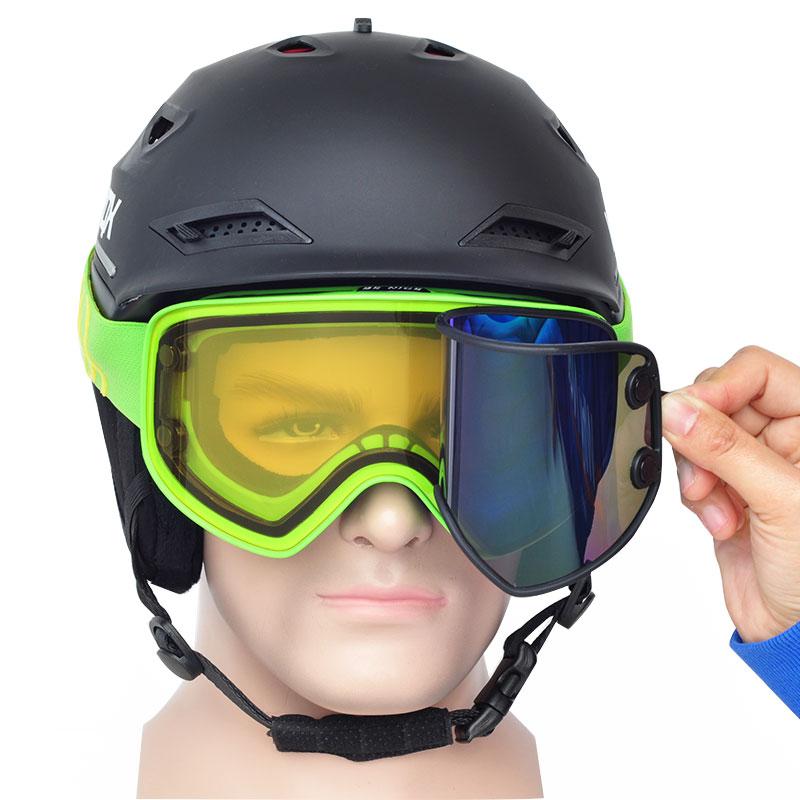 2 в 1 с магнитным двойным использованием поляризованные линзы противотуманные UV400 сноуборд мужские лыжные очки женские лыжный шлем очки набор