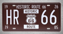 1 pc Route 66 Oklahoma USA Car license Tin Plates Signs garage wall man cave Decoration Metal Art Vintage Poster