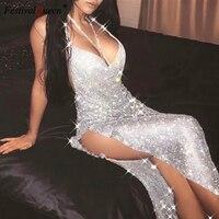 FestivalQueen Элегантные Роскошные Холтер горный хрусталь платье с пайетками Женские спинки блеск Сбоку разрез со стразами парадная обувь