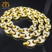 colorful.gem Men's 12mm Heavy Iced Alloy Miami Cuban Link Necklace Choker Bling Bling Hip hop Jewelry Gold Silver Chain фигурный дырокол fancy creative клевер