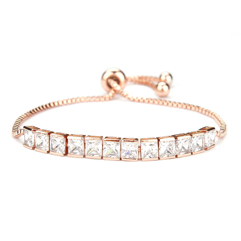 23e7be2555f8d US $2.4 |Rose Gold / White Gold Color Plated Square Cubic Zirconia Crystal  CZ Zircon Adjustable Bracelets or Anklets for Women or Wedding-in Chain &  ...