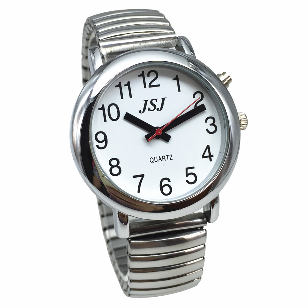 English Talking Watch with Alarm Expanding Bracelet Silver Color White Face talking date and time