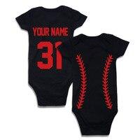 Baseball Custom Personalized Newborn Baby Boy Girl Bodysuit Solid Black Short Sleeve Baby Clothes Design Your